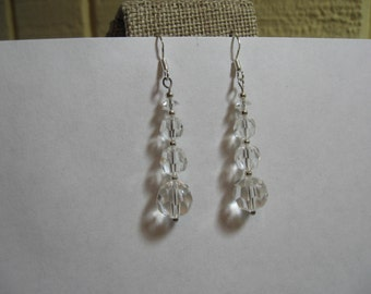 Handmade sterling silver faceted crystal earrings, free US shipping