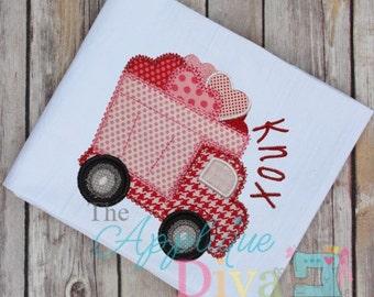 Valentine's Day Love Truck Digital Embroidery Design Machine Applique
