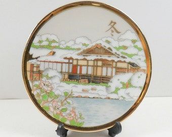 Miniature Porcelain Plate and Stand Hand Painted Seasonal Winter Japan