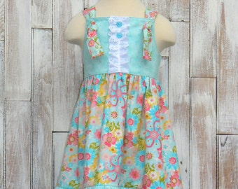 Sale..Blossom in Blue Knot Dress Ready to ship in Girl's size 4T to 5