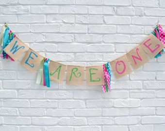 Twins Banner - We are One Banner - Twins 1st birthday - twins boy girl - boy girl twins - twins birthday banner - twins kids - twins
