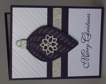 Elegant Eggplant Ornament Christmas Card