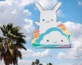 Rainbow bunny enamel pin, Kawaii cloud rabbit jewelry, Cloisonné lapel pin metal badge, Cute boy girl LGBT gift, hat jacket backpack game