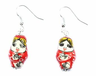 [BUNDLE] Matryoshka earrings Babushka Russian doll Red