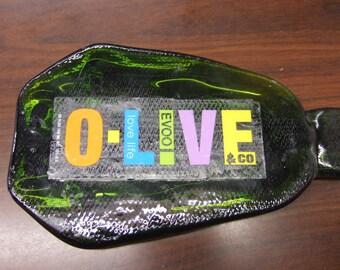 OLIVE Bottle Fused Flat