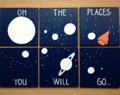 bold solar system. oh the places you will go. 6 - 12x12's. custom colors, hand painted original. navy blue, white, galaxy, orange rocket