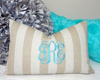 Natural Tan Monogrammed Pillow Cover Lumbar 12x18 Monogram Pillow Cover Natural Stripe Fabric Up to 3 Initials