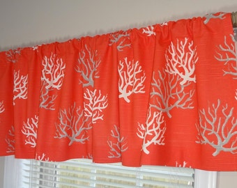 SALE Curtain Valance Topper Window Treatment 52x15 Coral Grey & White Coral Valance Home Decor