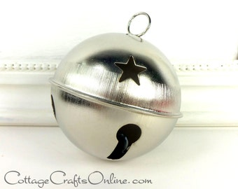 "Silver Jingle Bell,  Large 70 mm, 2 3/4"" diameter -  Darice Craft - Christmas Sleigh Bell,  Decor,  Embellishment #10558"