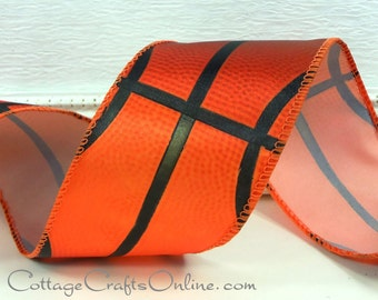 """Wired Ribbon,  2 1/2"""" wide,  Basketball Sports Print - TEN YARD ROLL - Offray """"Hoops""""  Sports Basket Ball Craft Wire Edged Ribbon"""