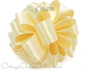 """CLEARANCE! Satin Ribbon, 5/8"""" width, Cream Double Sided - 100 YARD ROLL -  Offray Off-white, """"Cream #815"""" No. 3 Warm White Double Face Satin"""