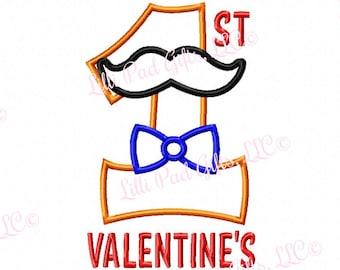 Mustache Bowtie - 1 - Applique - Machine Embroidery Design - 5 sizes