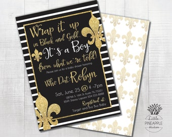 New Orleans Saints Who Dat Black and Gold Baby Shower/ Save the Date Invite DIY Printable