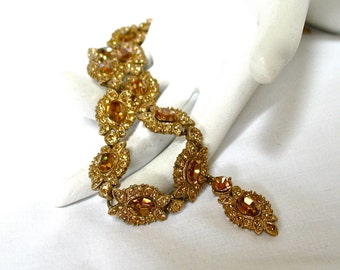 Rhinestone Necklace with Amber Colored Stones, Dangle Drop, Statement, Excellent
