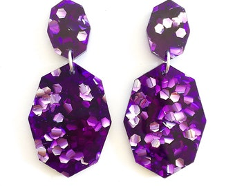 Gemstar Double Drops - Amethyst Purple Lush Glitter - Geometric Drop Earrings Laser Cut