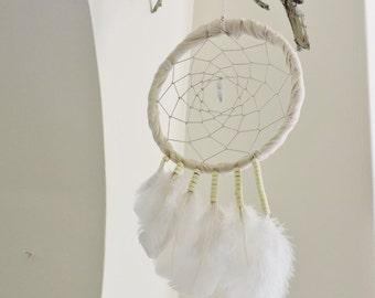 """Vintage fabric White 6.5"""" Dreamcatcher, Boho home, Wall Hanging, Home decor, Handmade Dreamcatcher"""