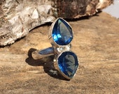 Blue Toumaline gemstone crystal ring with healing properties size 7 N/O