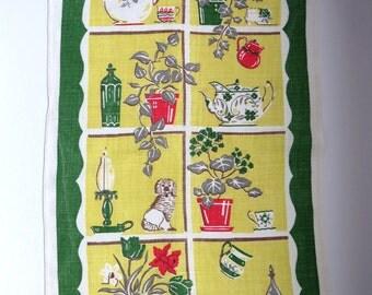 Vintage Tea Dish Kitchen Towel - Window Pane Ivy Plants Tea Pots Staffordshire Dog - English Country Cottage - Yellow Green Vintage Linens