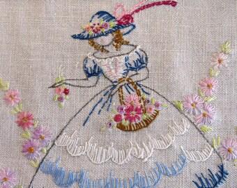 Vintage Embroidered SOUTHERN BELLE Table Runner Dresser Scarf - Linen Drawn Work - Basket of Flowers - Vintage Table Linens - Crafts As Is