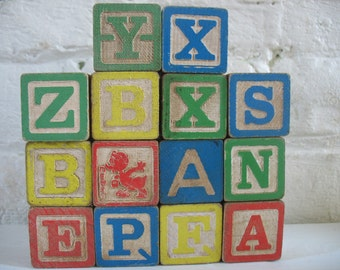 Vintage Wooden Alphabet Blocks - 14