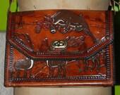 Tooled Leather Purse Elaborate Deer Outdoor Scene Vintage Handbag