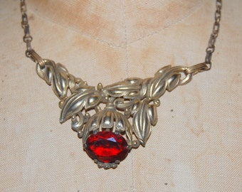 Gold 30's Choker Necklace Large Red Glass Stone Gold Leaves Beautiful