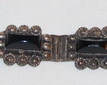 Mexican 925 Sterling Silver Bracelet Black Onyx Link Vintage Made In Mexico Bracelet