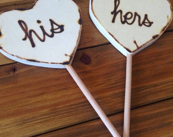His and Hers Cake Toppers Photo Props for the Bride and Groom Rustic Wedding Decorations Wood Hearts