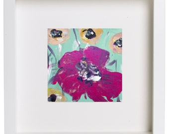 Poppy original painting - Large Fuchsia flower art - radiant orchid large flower - Floral still life - abstract poppies -  acrylics