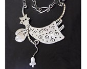 Wonderful Wee Woman with Wings 'Cleocatra' recycled sterling silver winged cat with mouse and neck chain.