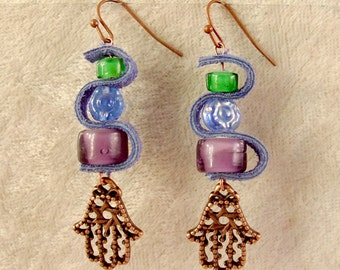 Leather, Glass, and Metal Earrings - LE1