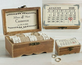Wedding Ring Box Personalized Wedding Box Ring Box Save the Date Ring Bearer Box Calendar ring box Custom Wedding Holder Keepsake Box