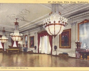 Washington D.C., White House, East Room - Linen Postcard - Unused (QQ)