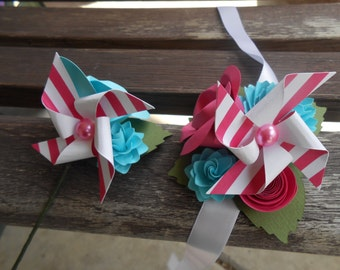 Pinwheel Custom Corsages & Boutonnieres. CHOOSE YOUR COLORS. Wrist or Pin-On. Weddings, Prom, Homecoming, Etc.