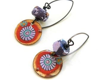 Boho Enamel Earrings in Red, Orange, Purple, Blue and Black