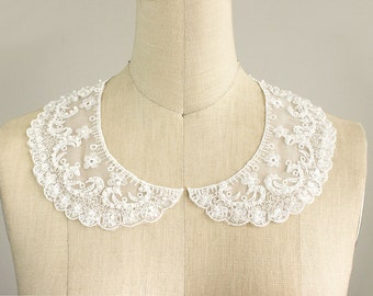 NEW ITEM! White Sheer Embroidered Organza Pearl Beaded Floral Peter Pan Lace Collar / Neckline / Bridal / Wedding