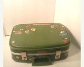 On Sale Avocado Green Child's Suitcase , Disney Stickers , Mickey Mouse