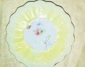 Antique Butter Pat Scalloped hand Painted Flower