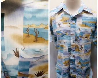 Vintage 1960s Southwest/Desert Print Men's Shirt - L/XL