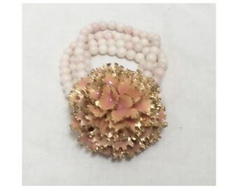 Vintage 1960s/1970s Pink Flower Beaded Bracelet