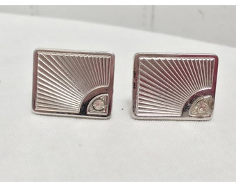 Vintage 1970s Silver Tone/Faux Diamond Chip Cuff Links