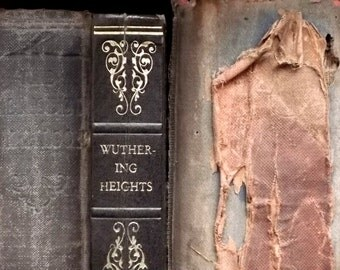 WORN Emily Bronte novel Wuthering Heights vintage book faux leather bound