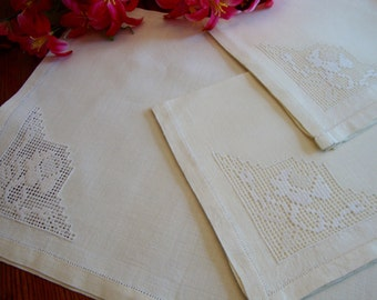 Linen Placemats Napkins Set of Two Pale Yellow Vintage Pastel
