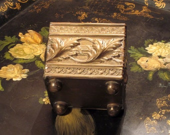Antique Art Nouveau Embossed Brass Container