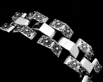 Vintage Taxco Mexico Mexican Sterling Silver Classic Ambriz Bracelet 21712
