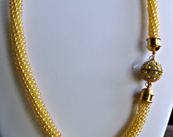 """Beaded Kumihimo necklace with magnetic ball clasp/focal piece """"Golden Sunshine"""" statement necklace, gift for her, fashion jewelry"""