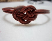 Brown leather Josephine knot bracelet
