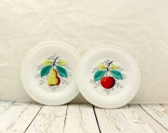 Westmoreland Beaded Glass Bread Plates, Fruit Motif Westmoreland Glass, Beaded Edge Westmoreland Bread and Butter Fruit Plate