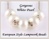 Sale for 2pcs - Stamped 925 Core - Gorgeous PEARL WHiTE - ROuND - Larger Size - Murano Lampwork Glass Bead - fits European Bracelets - GD