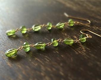Peridot Earrings - Green Gemstone Jewelry - August Birthstone - Gold Filled - Beaded - Fashion - Chic